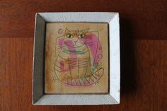 1960s Cat Art  Original Signed Forrest Hibbits Mixed by makeready (Home & Living, Home Décor, Wall Décor, Wall Hangings, 1960s, hippie, nursery art, bright, mid century modern, MCM, hipster, pink, kitten)