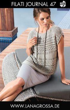 LANA GROSSA Filati 47 Modell 53: Pulli (Diva) Lace Knitting Patterns, Crochet Woman, Crochet Top, Bolero, Knitting Projects, Baby Knitting, Pullover Sweaters, Cover Up, Creations