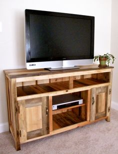Handcrafted TV cabinet. Quality, hand built furniture with creative character and rustic charm. Built in New Hampshire! #Buffet #TV Cabinet #hutch #wood #rustic