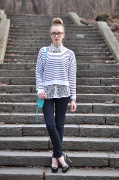 high bun + glasses;  button down + cropped sweater