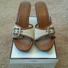 """NEW  COACH SHOES-PRICE TO SELL- PRICE FIRM Beautiful stone and acorn  buckle design 4"""" heel with 3/4"""" platform.  Leather sole and trim. New in box. Coach Shoes"""