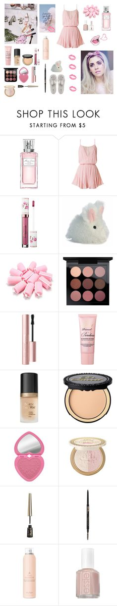 """""""How to be a heart breaker"""" by circe-1emon ❤ liked on Polyvore featuring Christian Dior, Aurora World, Too Faced Cosmetics, Drybar, Essie, Forever 21, cute, outfit and music"""