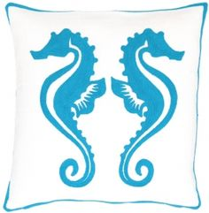 Fresh American Seahorse Turquoise Indoor / Outdoor Pillow