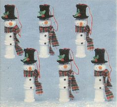 Snowman from old spool of thread