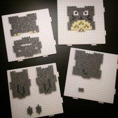 Totoro piggy bank hama beads by omglinno Melty Bead Patterns, Pearler Bead Patterns, Perler Patterns, Beading Patterns, Perler Beads, Perler Bead Art, Fuse Beads, Ghibli, Totoro