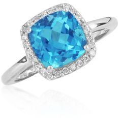 Belk  Co. Blue Swiss Blue Topaz And Diamond Ring In Sterling Silver ($238) ❤ liked on Polyvore featuring jewelry, rings, blue, enhancer ring, blue diamond jewelry, diamond jewelry, blue jewelry and diamond rings