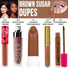 Kylie Jenner lip kit dupes for Brown Sugar Kylie Lip Kit Dupe, Kylie Jenner Lip Kit, Kendall Jenner, Kylie Dupes, Makeup Goals, Love Makeup, Makeup Tips, Grey Makeup, Makeup Tutorials