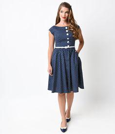 1950s Style Navy  White Dottie West Polka Dot Swing Dress $82.00 AT vintagedancer.com