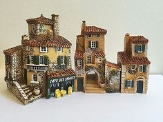 MINIATURES-VILLAGE-BUILDINGS-J-CARLTON-DOMINIQUE-GAULT-HOUSES-FRENCH-PROVENCE-A