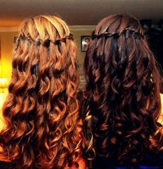 blonde and brunette waterfall curls