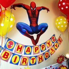 Wall decal for Spider-Man party