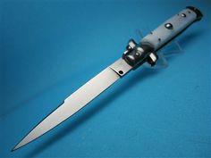 "Frank Beltrame 9"" White Pearlex Swedge Blade Switchblade https://www.myswitchblade.com/Frank-Beltrame-9-White-Pearlex-Swedge-Blade-p/9fbwhitpearlswedge.htm"
