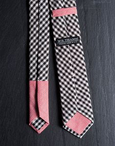 Terry Men's Skinny Neck tie - Black white gingham plaid with red micro contrast tip on Etsy, $68.00