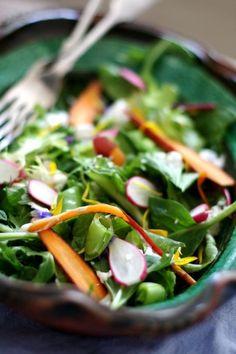 Helpful Hint:  Serve Heavily Garnished Green Salads on a Platter