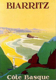 Cote Basque - Biarritz - Travel Poster - Vintage Poster Image on Canvas by vintageprints Vintage Travel Posters, Vintage Postcards, Old Poster, Illustrations Vintage, Tourism Poster, Beach Posters, Biarritz, Travel Illustration, Air France