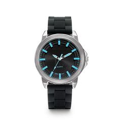 "Color Shock Men's Silicone Watch. Classic, masculine design. 10"" L silicone strap with silvertone case. #watch #jewelryformen"