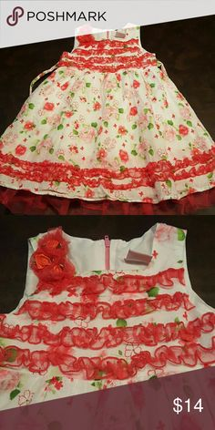 Girls Nannette cotton dress sz 4T Lightweight, soft cotton with some tulle and ruffles. Cute and girly! Cotton liner underneath. Pink, white, green. Zipper back and tie back at waist. Smoke free, pet free home. Nannette Dresses