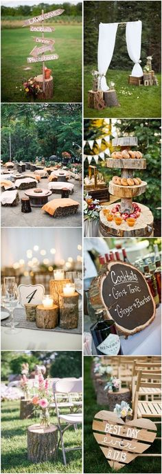 rustic country wedding ideas- tree stump wedding decor idea / http://www.deerpearlflowers.com/tree-stumps-wedding-ideas-for-rustic-country-weddings/2/ #weddingdecoration #CountryWeddings