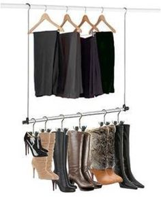 Adjustable Closet Doubler Boot Hanger Storage System | Closet Rod, Double  Closet And Organizations