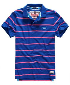 Shop Superdry Mens Miami Stripe Polo Shirt in Voltage Blue/echo Pink. Buy now with free delivery from the Official Superdry Store. Polo Shirt Style, Mens Polo T Shirts, Striped Polo Shirt, Rugby Shirts, Superdry Fashion, Superdry Mens, Boys Summer Outfits, Sport Outfits, Hang Ten