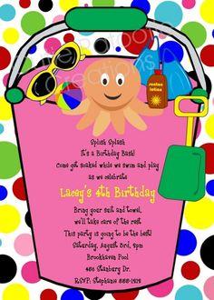 Beach Bucket Pool Party Birthday Invitations