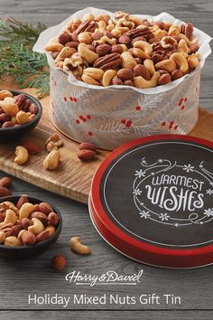 The Holiday Mixed Nuts Gift Tin is a holiday staple and the classic gift for Christmas. The Christmas gift tin comes filled with gourmet nuts such as cashews, pecans and much more. Holiday Gift Guide, Holiday Gifts, Christmas Gifts, Tin Gifts, Food Gifts, Harry And David, Supermarket Design, Smoked Gouda, Mixed Nuts