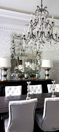 dining room chandelier damask wallpaper decorating white tufted studded chairs better decor bible silver sparkling - EVERYTHING I LOVE IN ONE ROOM! Home Interior, Interior Design, Sweet Home, Home Decoracion, Elegant Dining, Dining Room Design, Dining Rooms, Dining Area, Beautiful Interiors