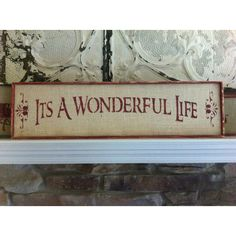 It's A Wonderful Life Christmas sign on natural burlap with wood frame... ($14) ❤ liked on Polyvore