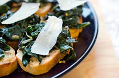 Entertaining or needing something for a party? Kale and Parmesan Crostini at your service