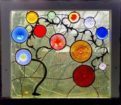 The use of old lamp parts so cool...by, Alison's Stained Glass