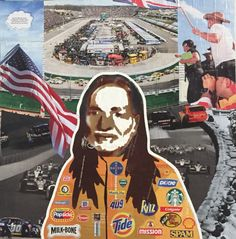 NASCAR Willie 16 x 16in — Mixed Media on Board — $150 + $12 shipping — CONTACT: blacksheepranchatx@gmail.com