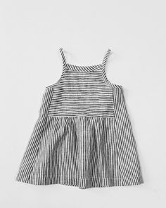 % off— wolfechild park dress in ticker stripe is a linen tank dress with squared neck and gathering detail at waist. slips on handmade in illin. Little Girl Fashion, Little Girl Dresses, Kids Fashion, Fashion Clothes, Fashion Women, Cheap Fashion, Fashion Boots, Fashion Brands, Latest Fashion