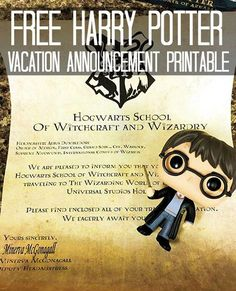 Free Harry Potter Vacation Announcement Printable for Universal Studios Hollywood in California!