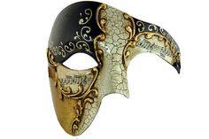 Half Men Face Mask Musical Venetian Masquerade Mask Phantom Vintage Design