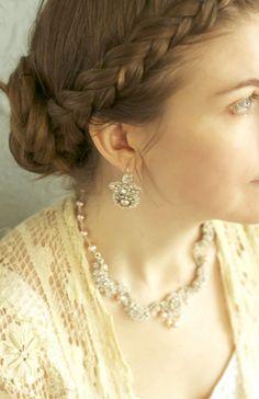 Pink Pearl Bridal Earrings / Dainty Drop Dangle by EderaJewelry, $212.00