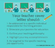 Tips for teacher cover letters.