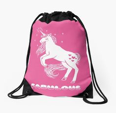 "Fabulous Sparkly Unicorn"" Drawstring Bags by vampirefinch 