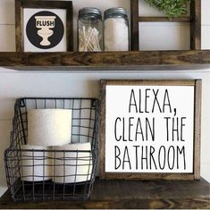 Alexa Clean the Bathroom Farmhouse Style Wood Sign Framed Wood Sign Rustic Wood . : Alexa Clean the Bathroom Farmhouse Style Wood Sign Framed Wood Sign Rustic Wood Sign Farmhouse Home Decor Rustic Home DecorGifts Home Décoration Guide and Tips Farmhouse Homes, Rustic Farmhouse, Farmhouse Living Room Decor, Industrial Farmhouse, Farmhouse Style Decorating, Farmhouse Design, Rustic Home Design, Urban Farmhouse, Farmhouse Interior