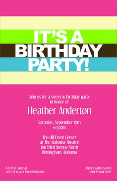 Bright Stripes Birthday Invitations