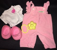 CABBAGE PATCH KIDS Doll SHOES Pink MARY JANES T-Shirt CPK Overalls YELLOW RATTLE  | eBay