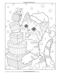 Santa's Kitty Helpers Holiday Coloring Book (Design Originals) 32 Cute, Expressive-Eyed Christmas Cat Designs by Kayomi Harai on High-Quality, Extra-Thick Perforated Pages that Resist Bleed-Through Dog Coloring Page, Free Adult Coloring Pages, Disney Coloring Pages, Christmas Coloring Pages, Animal Coloring Pages, Coloring Book Pages, Printable Coloring Pages, Coloring Sheets, Coloring Pages Winter