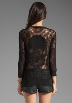 AUTUMN CASHMERE Hand Crochet Skull Hi Low Sweater in Black at Revolve Clothing - Free Shipping! $253