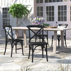 Gracie Oaks Kayleigh Patio Dining Chair & Reviews | Wayfair Outdoor Dining Chairs, Patio Table, Dining Chair Set, Backyard Patio, Furniture Fix, Outdoor Furniture, Outdoor Decor, Plastic Resin, Perfect Place