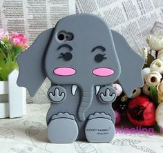 *Animal* 3D Grey Tiny Baby Elephant Silicone Back Cases/Cover for iphone 4 4S $9