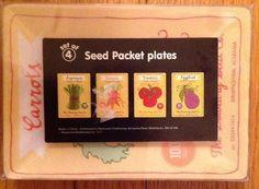 Set of 4 Seed Packet Plates Farmstand Tomato Carrot Asparagus Eggplant Plastic | eBay
