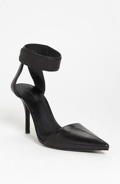 Alexander Wang - Liya, pointed toe pump with velcro ankle strap, in black leather, $495 (also available at http://www.saksfifthavenue.com)