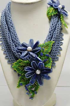 Gray and Blue Statement Beaded Necklace Scarf with Lazurite Flowers, Beading Holiday Necklace, Fashion jewelry, Womens Gift, Gift for Her