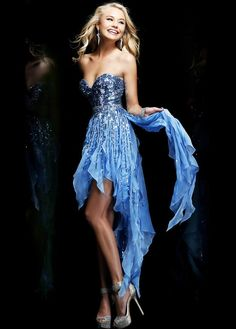 Blue Strapless Sequin Flirty High To Low Homecoming Dress