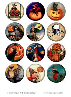 Instant Download - Vintage Halloween Bottlecap Images V3 / Pumpkin Witch Cat Owl Broom Moon / Digital Collage / Printable 1-Inch Circles by carielewyn on Etsy https://www.etsy.com/listing/158226056/instant-download-vintage-halloween