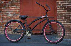 SKULLXBONES Women\'s Beach Cruiser Bike - Flat Black / Pink